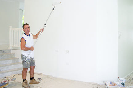 Painting a plastered wall